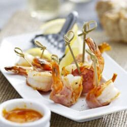 King Prawns in Ham with Red Pepper Dip